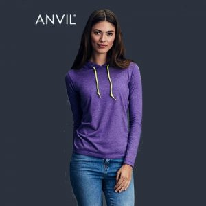 Anvil Long Sleeve Hooded Tee Womens